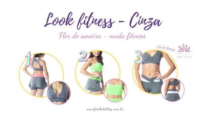 Tendência cinza com detalhes coloridos -  Flor de Ameixa moda fitness