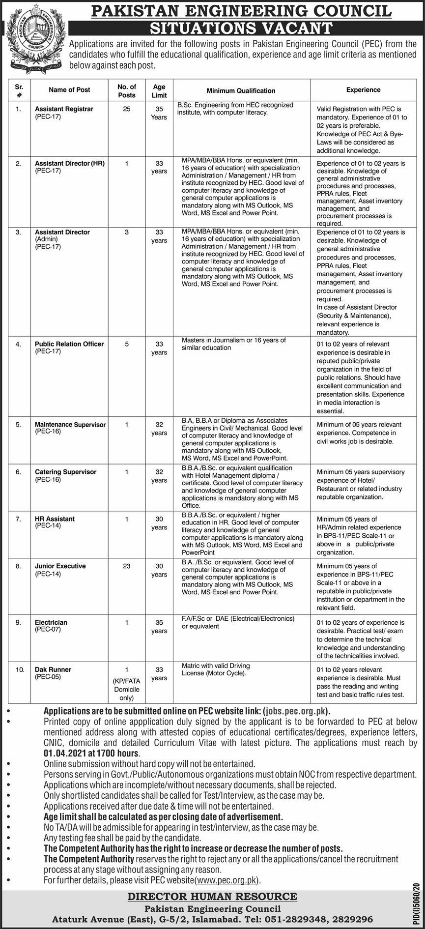 government,pakistan engineering council pec islamabad,assistant registrar, assistant director, public relation officer, maintenance supervisor, catering supervisor, hr assistant, junior executive, electrician, dak runner,latest jobs,last date,requirements,application form,how to apply, jobs 2021,