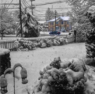 Snow on suburban streets