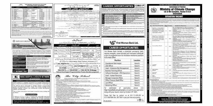 Today Jobs September 26 2021 in Various Departments | Dawn - Express - Jang - Kawish - Mashriq - Nawa e Waqt - K2 - Aaj - Dunya - The Nation