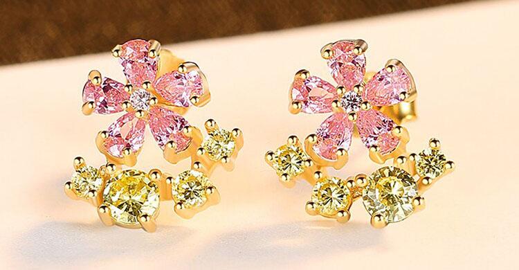 甜心粉金花朵鋯石 925純銀耳環