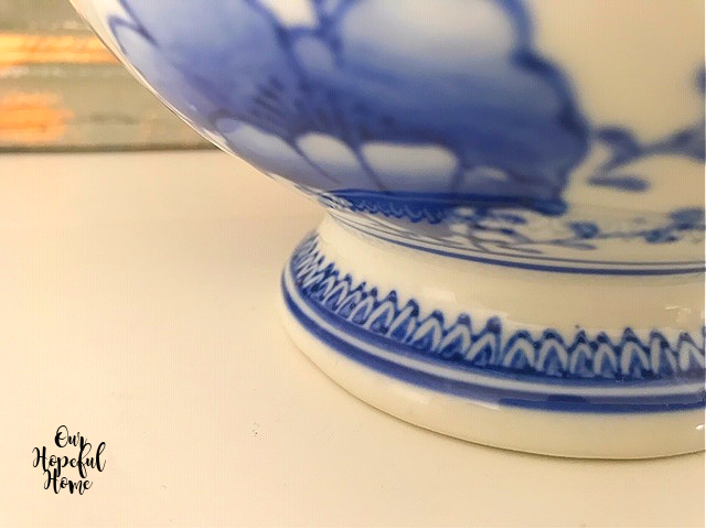 chinoiserie painted details cachepot footed bowl