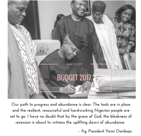 vb Acting President, Yemi Osinbajo Explains Why 2017 Budget Signing Was Delayed