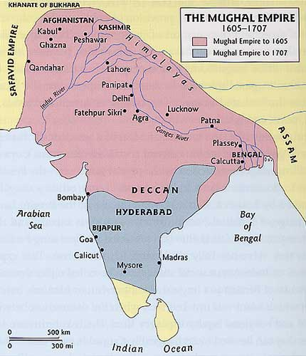 The Mughal Empire Map 1605-1707