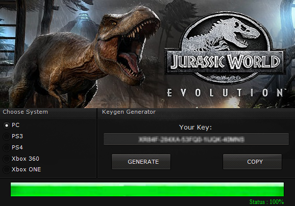 licence key for jurassic world evolution