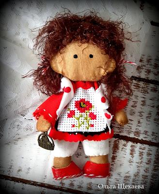 кукла, ручнаяработа, текстильная, игрушка, девочка, май, маки, вышивка,