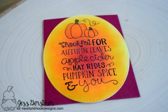 Fall card by Jess Gerstner | Fall-ing For You Stamp set by Newton's Nook Designs #newtonsnook #pumpkinspice #coffee