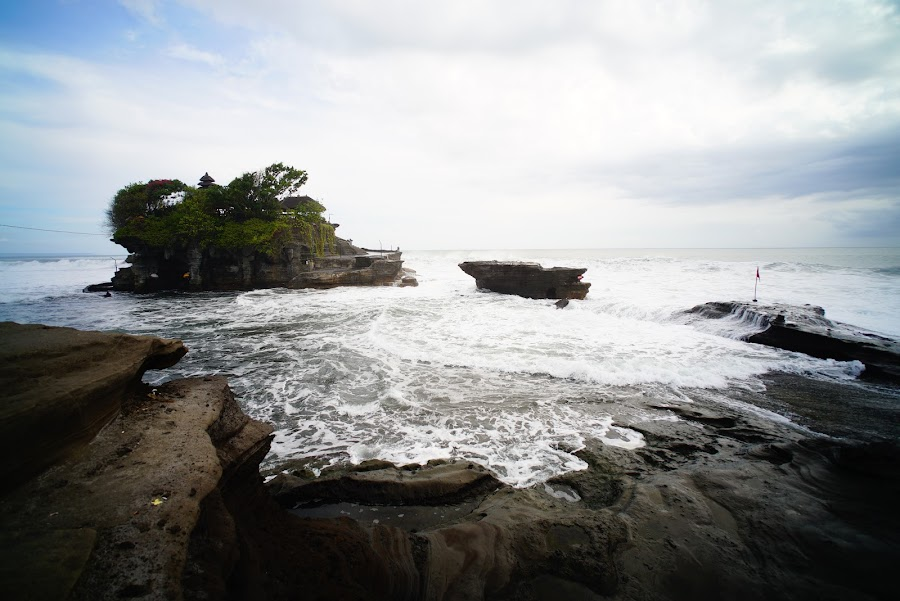 Pura Tanah Lot temple on the sea in Bali