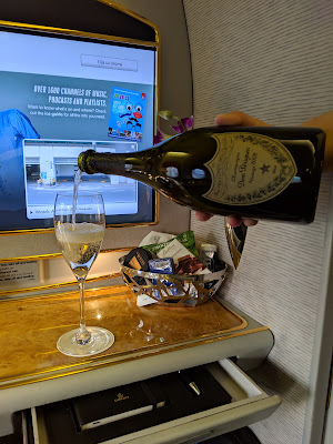 Glass of Dom Perignon aboard Emirates First Class A380 service