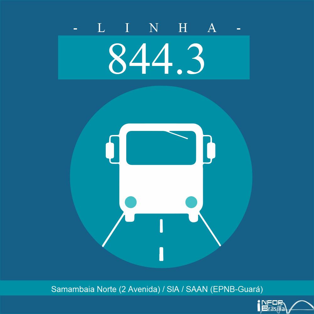 Horário de ônibus e itinerário 844.3 - Samambaia Norte (2 Avenida) / SIA / SAAN (EPNB-Guará)