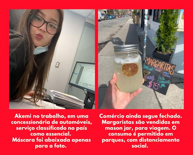 Montagem de fotos com moça em trabalho de escritório e mão segurando mason jar com margarita