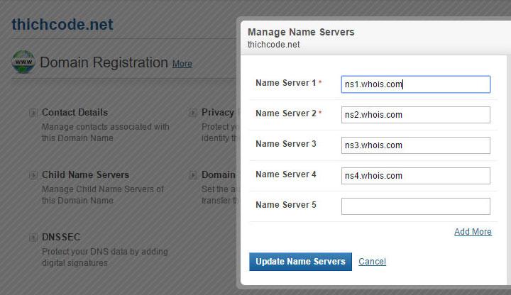 Thay đổi Name Server của Whois