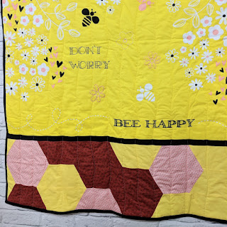 don't worry bee happy panel quilt creative grids hexagon trim tool