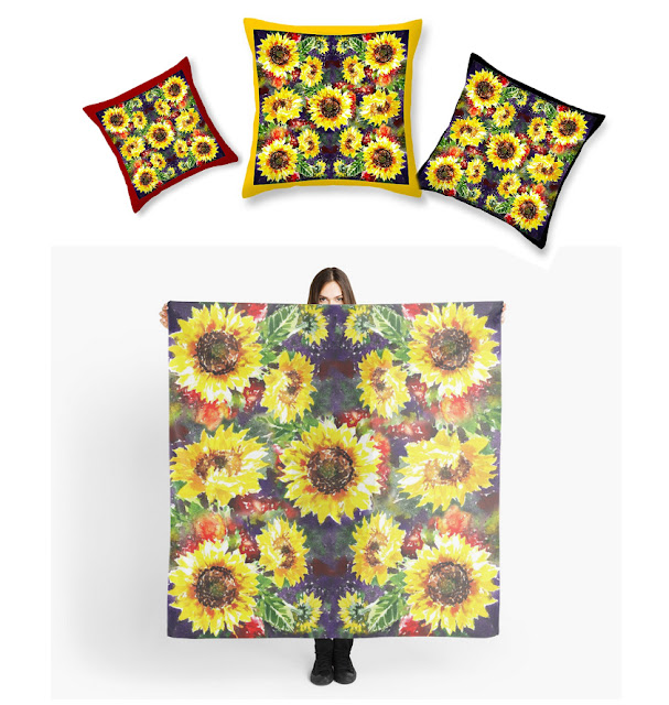 Sunflowers Pattern on Pillow and Scarf artist Irina Sztukowski