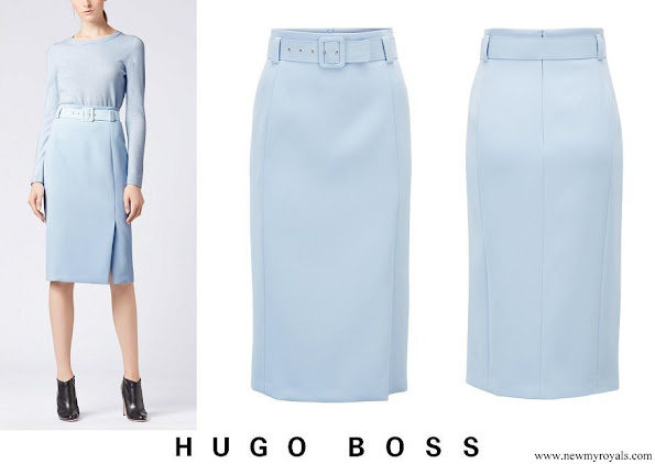 Princess Sofia wore BOSS High-waisted Pencil Skirt In Micro Fabric With Belt