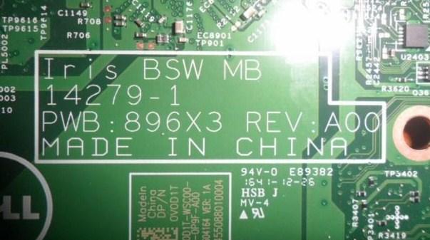 14279-1 Iris BSW MB PWB-896X3 REV A00 Dell Inspiron 14 3452 Bios