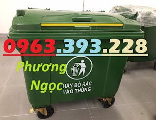 Xe đẩy rác 660 lít 4 bánh, xe gom rác công nghiệp, thùng rác 660L nhựa HDPE XR660L4B5