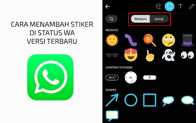 cara menambahkan stiker di status wa android