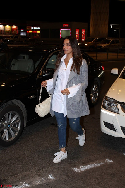 Neha Dhupia in Shirt Denim Spotted at Airport IMG 3510.JPG