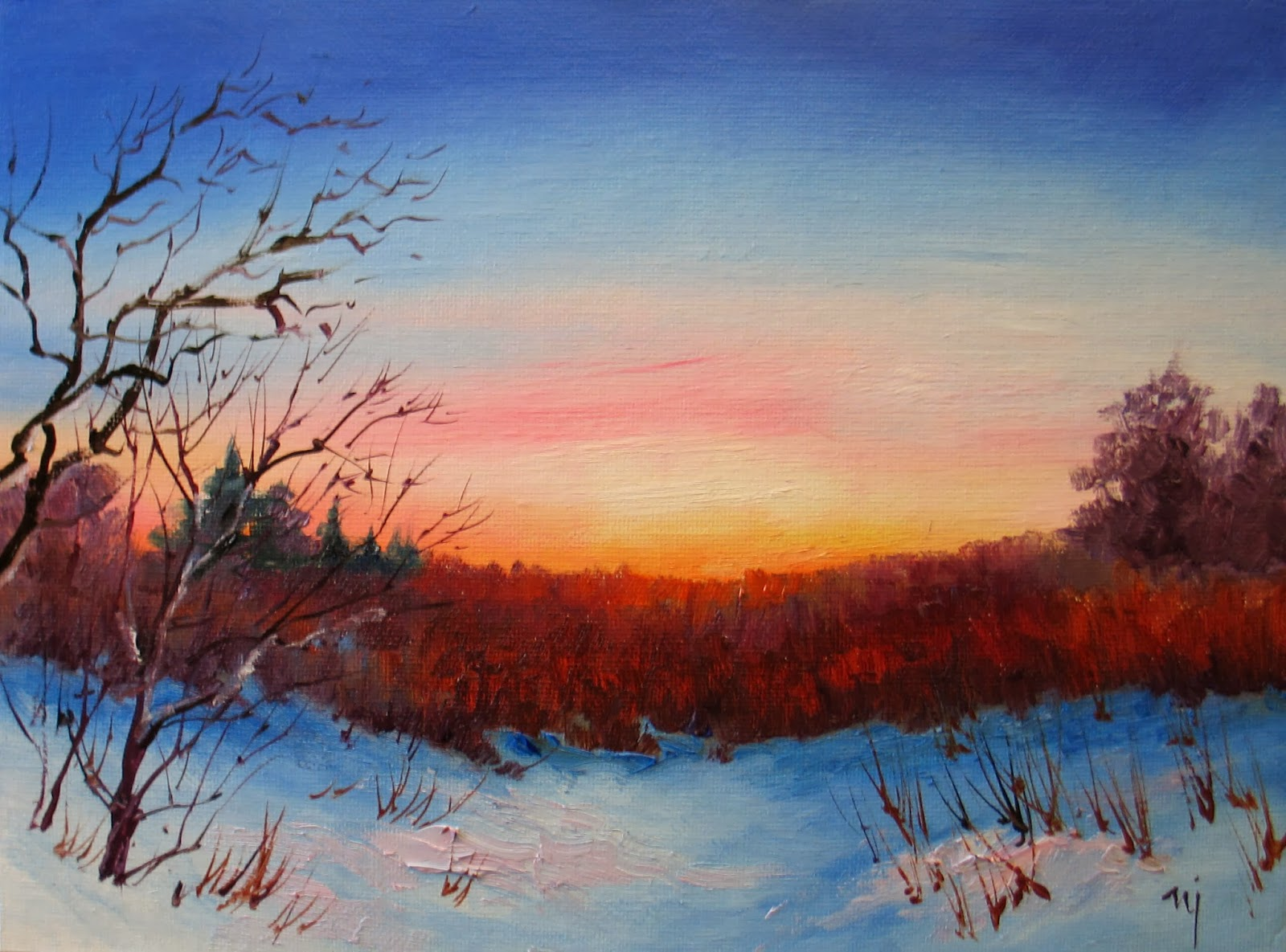Nels Everyday Painting Simple Winter Sunset