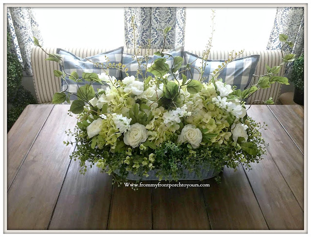 French-Country-Farmhouse-DIY-White-Hydrangea- Floral -Arrangement-From My Front Porch To Yours