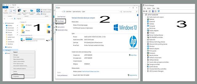 masuk device manager lewat properties