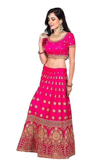 Fast Fashions Women's Satin Lehenga Choli