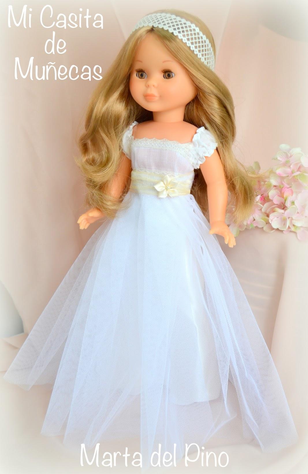 Vestido de comunión para Nancy de Famosa, muñeca de comunión, vestido por encargo, mi casita de muñecas, marta del pino