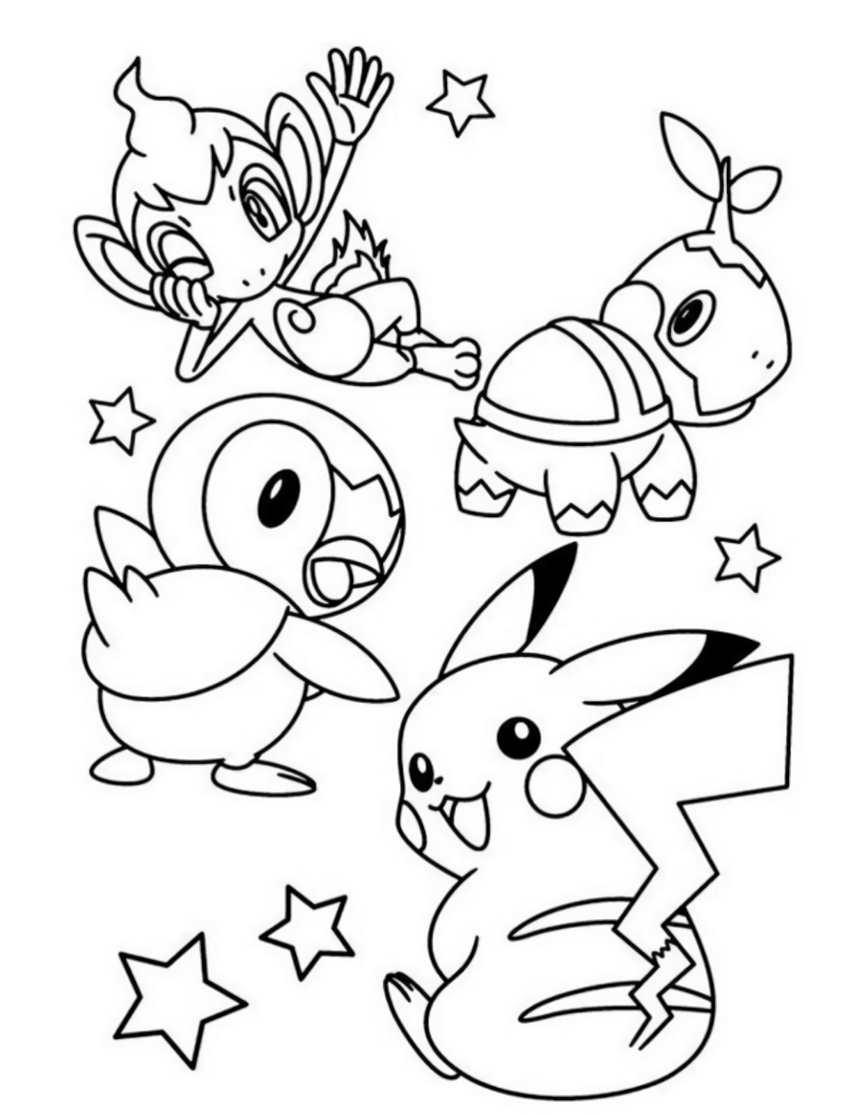 easy starter pokemon turtwig chimchar piplup and pikachu coloring pages to color - Pokémon Diamond and Pearl coloring pages