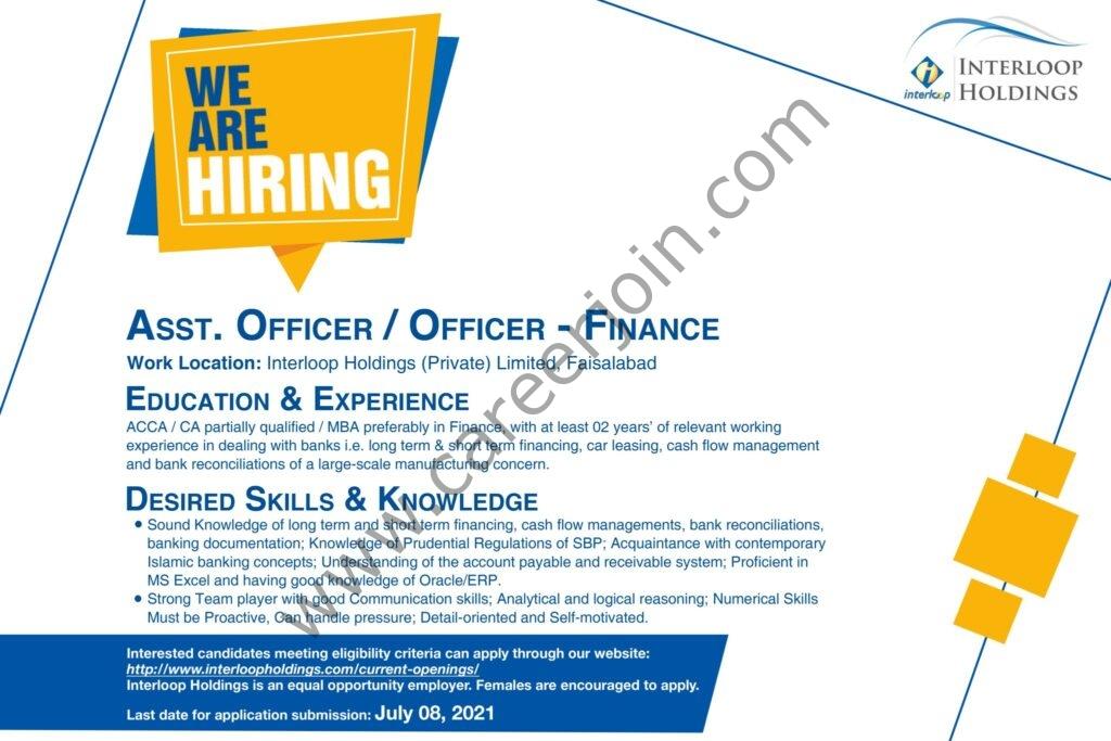 Interloop Holdings Pvt Ltd Jobs Asst Officer / Officer Finance