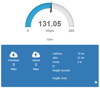 Brasil banda larga EAQ - Teste de velocidade da conexão de internet