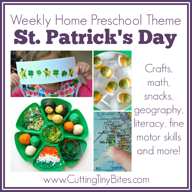 St. Patrick's Day Theme- Weekly Home Preschool. Ideas for crafts, snacks, fine motor, science, math, geography, and more! Perfect amount of EASY activities for one week of homeschool preschool.