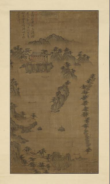 경포대도(鏡浦臺圖), 조선, 16세기 중반, 비단에 수묵과 담채