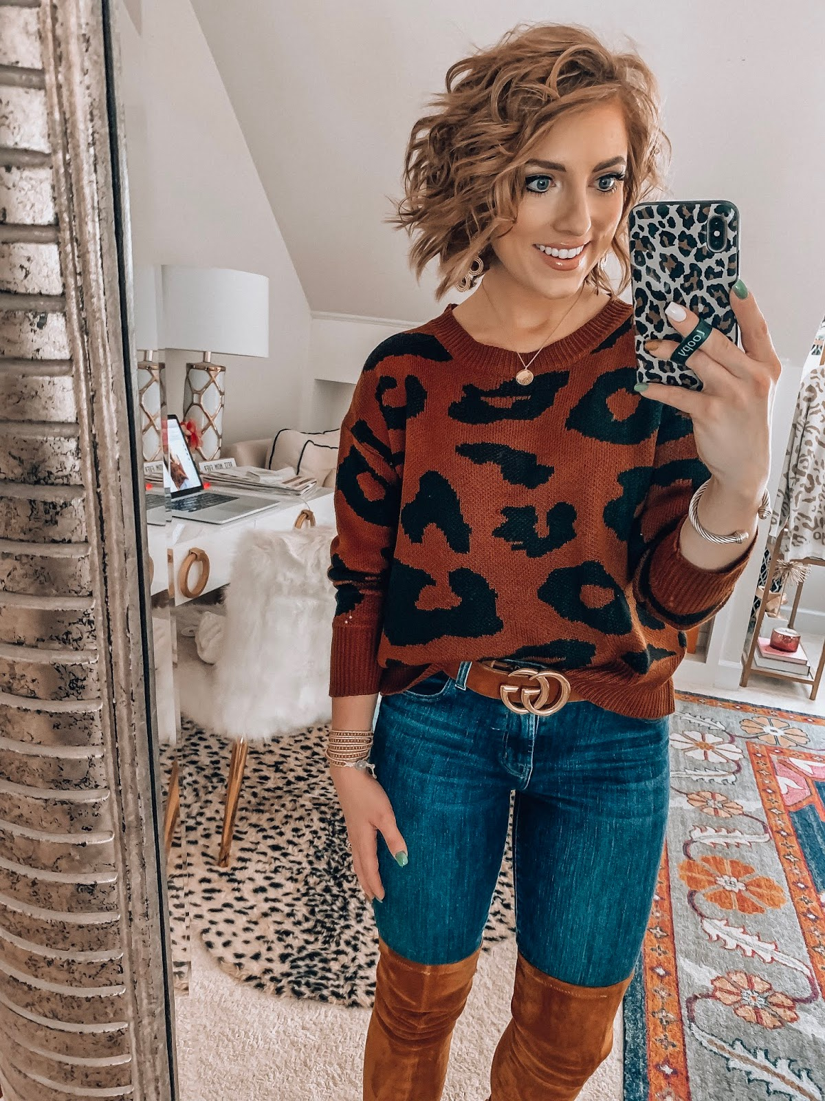 Recent Amazon Finds: Sweaters & Cardigans Edition - $21 leopard sweater - Something Delightful Blog #FallStyle #AmazonFashion #AffordableStyle