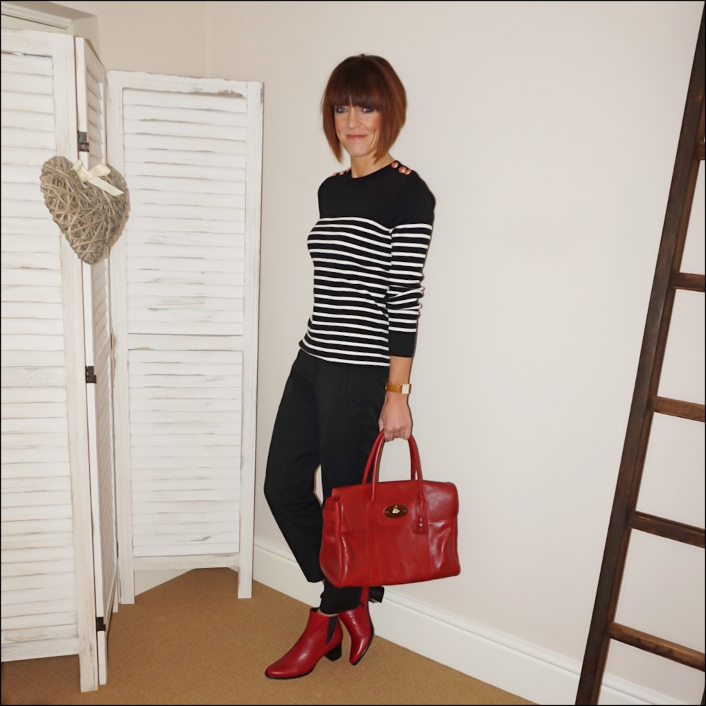 my midlife fashion, petit bateau stripe sailor jumper, hush courtney crop trousers, mulberry bayswater, jones bootmaker harriet leather ankle boots
