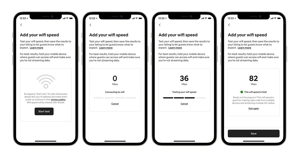 Hosts can test their listings connection speed in four easy steps