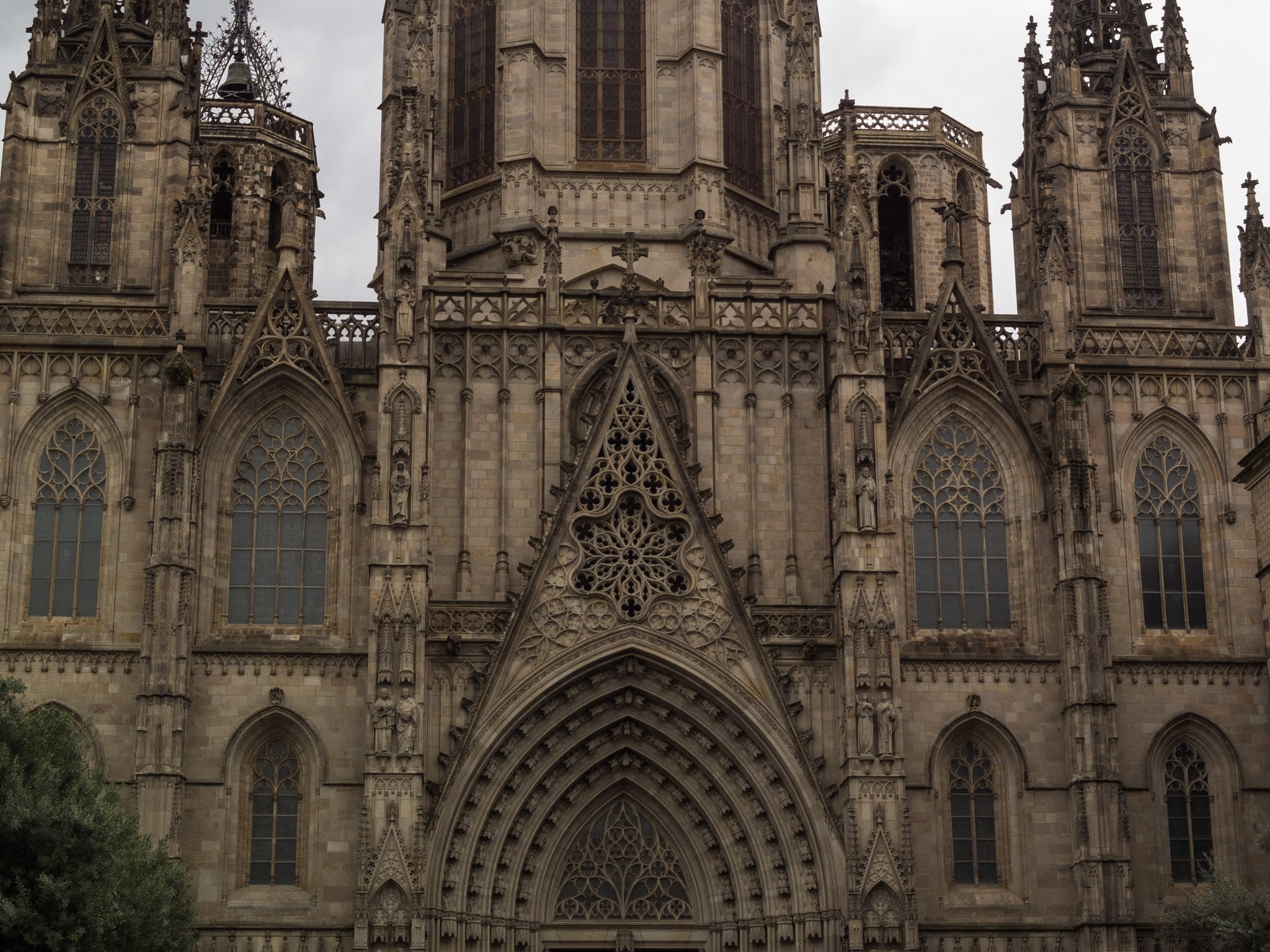 Close up of the tympanum on the Cathedral of Barcelona