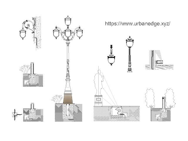 Urban Lighting design cad block download, 5+ Urban Lights cad blocks