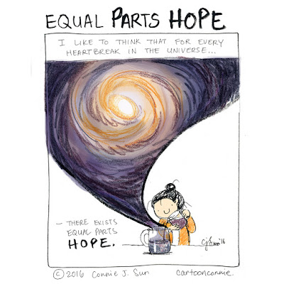 "Illustration caption: ""I like to think that for every heartbreak in the universe, there exists equal parts hope."" Artwork by Connie Sun, cartoonconnie"