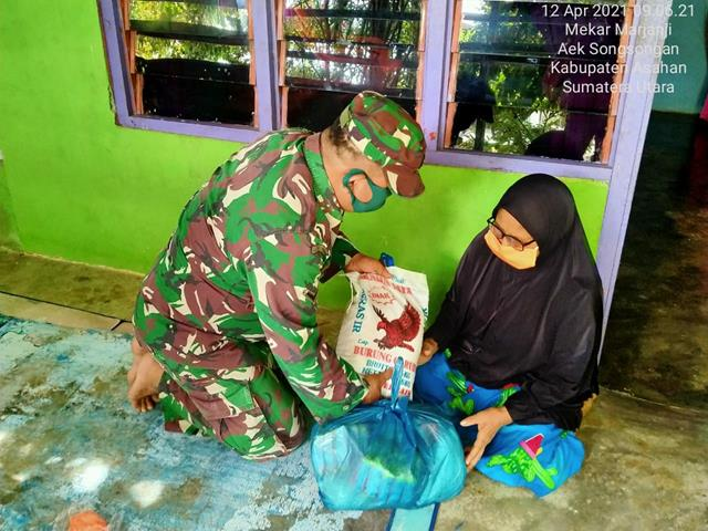 Sambut Ramadhan Dengan Sukacita, Personel Jajaran Kodim 0208/Asahan Laksanakan Lewat Sedekah