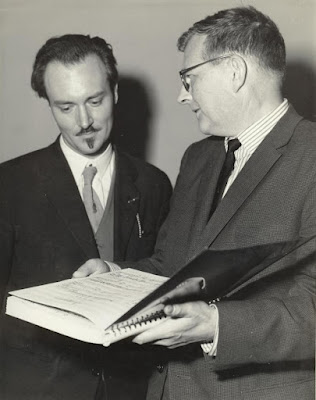 Ronald Stevenson & Dmitri Shostakovich at 1962 Edinburgh Festival with the score of Stevenson's Passacaglia