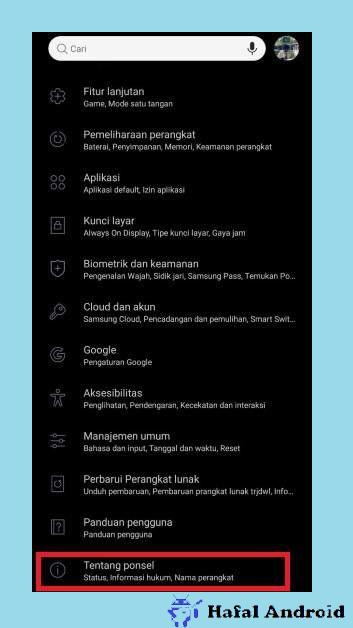 Klik Tentang Ponsel HP Samsung