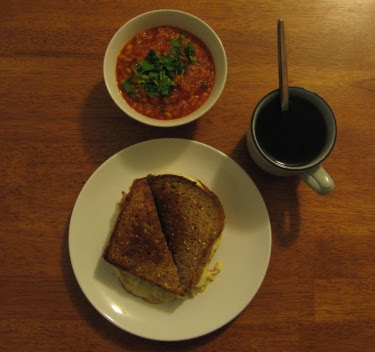 Brandy butter rice soup with grilled cheese