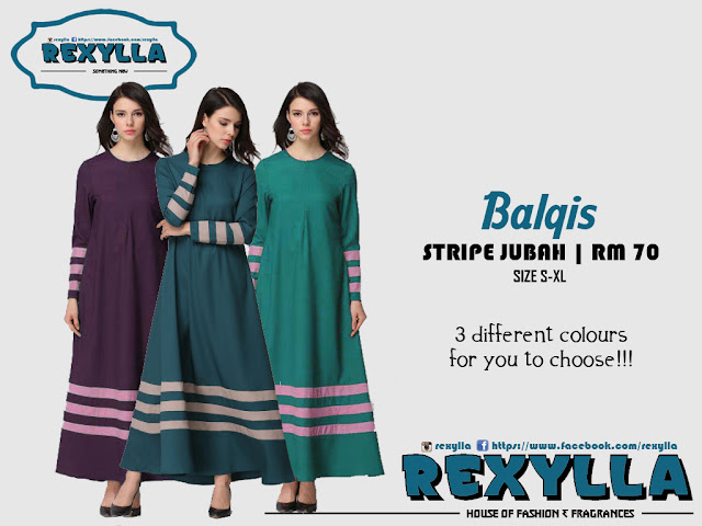 rexylla, stripe jubah, balqis collection