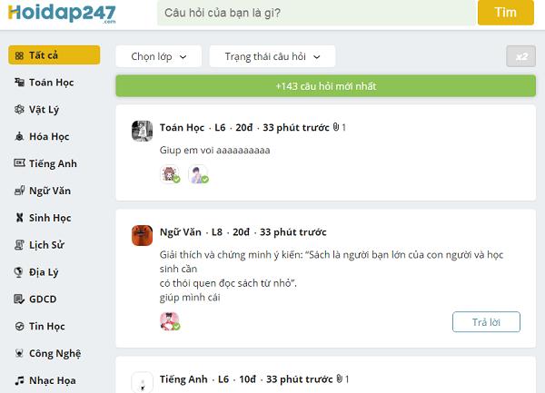 Hoidap247 - Hỏi đáp bài tập Toán, tiếng Anh nhanh miễn phí mới nhất a