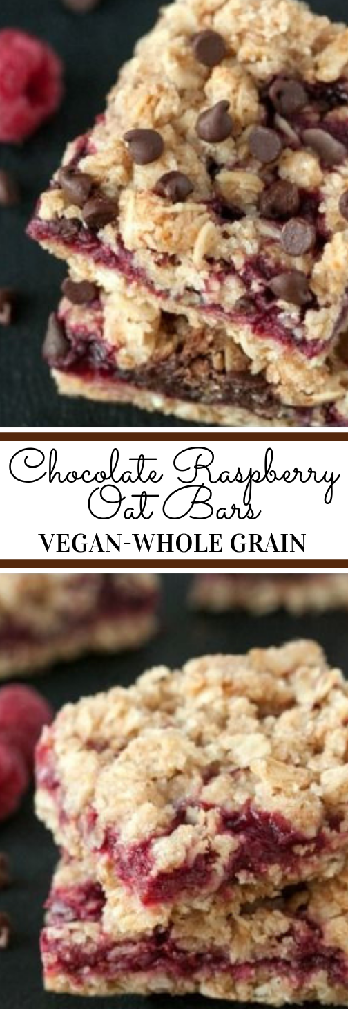 Chocolate Raspberry Oat Bars #bars #chocolate #raspberry #desserts #cakes