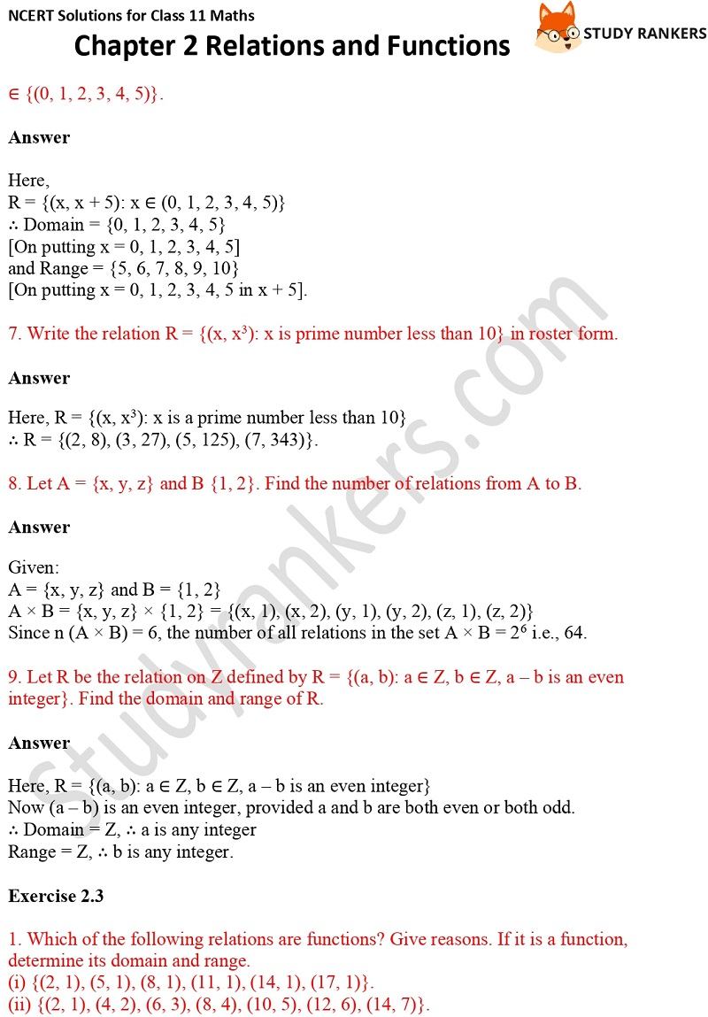 NCERT Solutions for Class 11 Maths Chapter 2 Relations and Functions 6