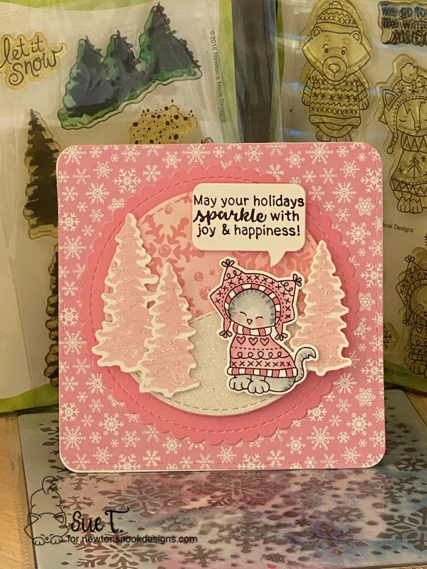 May your holidays sparkle by Sue T. features Sweater Weather, Whispering Pines, Snowflakes, Circle Frames, Sentiments of the Season, Framed Squared, and Speech Bubbles by Newton's Nook Designs; #newtonsnook, #cardmaking, #christmas