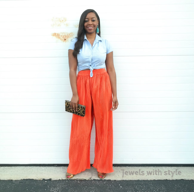 the perfect outfit, how to create a good outfit, how to make the perfect outfit, how to make an outfit, what to wear, quick and easy outfit, style book, outfit book, style guide, outfit guide, jewels with style, columbus fashion blogger, columbus blogger, columbus personal stylist, black style blogger, orange pants, how to wear wide leg pants, colorful pants outfit, how to wear a button up shirt, summer outfit ideas, spring outfit ideas