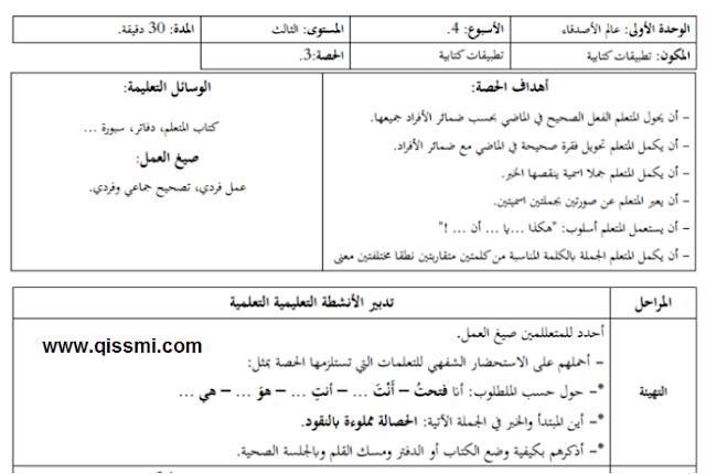 جذاذة التطبيقات الكتابية المستوى الثالث، الأسبوع الرابع لمرجع المفيد في العربية